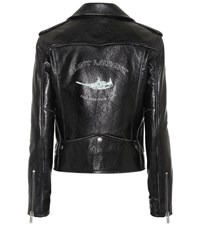 Saint Laurent Bird Printed Leather Jacket Black