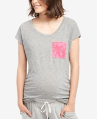Motherhood Maternity Plus Size Pocket T Shirt Grey