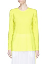Norma Kamali Neon Long Sleeve Crew Neck T Shirt Yellow