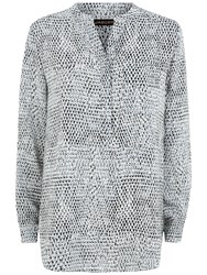 Jaeger Silk Stitch Print Tunic Top Grey