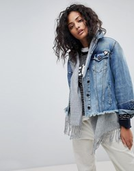 Maison Scotch Denim Trucker Jacket With Inner Lining Indigo Blue