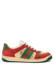 Gucci Virtus Low Top Distressed Leather Trainers Red Multi