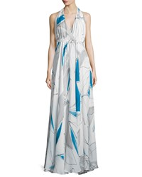 Milly Abstract Print Chiffon Halter Gown Women's Size 4 Blue