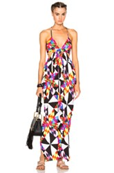 Mara Hoffman Modal Draped Dress In Pink Black White Geometric Print