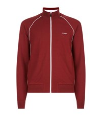 Zegna Contrast Piping Zip Jacket Red