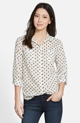 Women's Caslon Long Sleeve Shirt Ivory Cloud Black Heart Dot