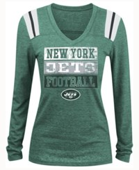 5Th And Ocean Women's New York Jets Triple Threat Long Sleeve T Shirt Green