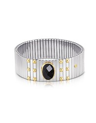 Nomination Single Black Cubic Zirconia Stainless Steel W Golden Studs Women's Bracelet Silver