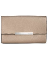 Calvin Klein Saffiano Leather Evening Clutch Metallic Truffle