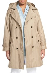 London Fog Plus Size Women's Double Breasted Trench Coat With Detachable Hood Khaki