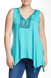 Halo Embroidered Sharkbite Tank Plus Size Blue