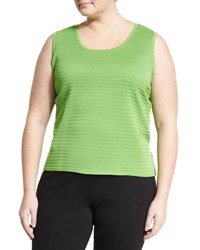 Ming Wang Scoop Neck Textured Knit Tank Green