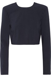 Dkny Cropped Pinstriped Stretch Wool Blend Top Midnight Blue