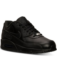 Nike Men's Air Max 90 Leather Running Sneakers From Finish Line Black Black