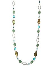 Anne Klein Crystal Multicolored Long Necklace Silver
