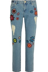 House Of Holland Nancy Appliqued High Rise Boyfriend Jeans Blue