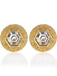Vintage Heirloom Chanel Rhinestone Clip On Earrings Gold