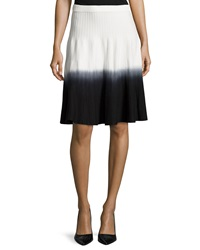 Chelsea And Theodore Ottoman Knit Dip Dye Skirt White Blac