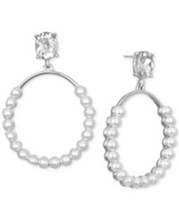 Jewel Badgley Mischka Silver Tone Imitation Pearl And Crystal Drop Earrings