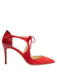 Jimmy Choo Vanessa 85Mm Cut Out Suede Pumps Red