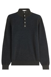 Brioni Silk Wool Cashmere Turtleneck Pullover Grey