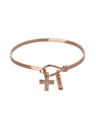 Bcbgeneration Basic Crystal Studded Cross And Have Faith Charm Bracelet Rose Gold