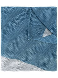 Armani Collezioni Floral Pleated Scarf Women Polyester One Size Blue