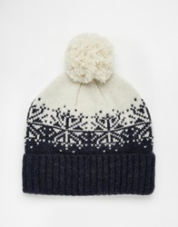 Asos Bobble Beanie In Navy And Ecru Lambswool With Fair Isle Design