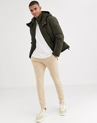 Esprit Puffer Jacket With Hood In Khaki Green