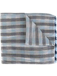 Our Legacy Frayed End Checked Pattern Scarf Blue