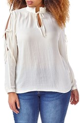 Addition Elle Love And Legend Plus Size Women's Slit Sleeve Peasant Blouse
