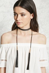 Forever 21 Faux Leather Tassel Choker Black