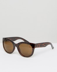 Monki Tortoise Cat Eye Sunglasses Tortoise Brown
