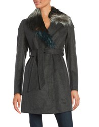 Sam Edelman Faux Fur Trimmed Wool Blend Coat Charcoal