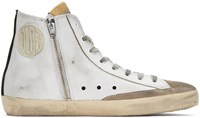 Golden Goose White And Black Flag Francy High Top Sneakers
