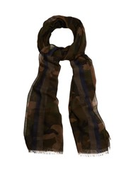 Valentino Camouflage Print Voile Scarf Green Multi