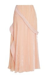 Adeam Velvet Pleated Skirt Pink
