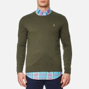 Polo Ralph Lauren Men's Crew Neck Cotton Blend Knit Jumper Moss Bark Green