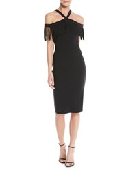 La Petite Robe Di Chiara Boni Ema Fringe Crisscross Cocktail Dress Black