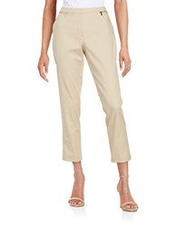 Calvin Klein Cropped Zip Accent Pants Latte