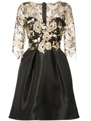 Monique Lhuillier Floral Overlay Dress Women Silk 10 Black