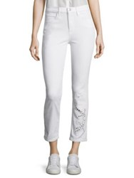 3X1 Sally Salamander Cutout Cropped Straight Leg Jeans White