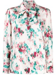 L'autre Chose Floral Print Shirt With Tie Neutrals