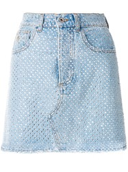 Attico Crystal Embellished Denim Mini Skirt Blue