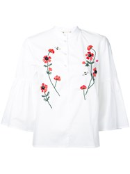 Muveil Embroidered Flower Blouse Women Cotton 38 White