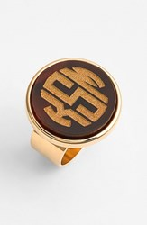Women's Moon And Lola 'Vineyard' Personalized Monogram Ring Tortoise