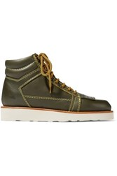 J.W.Anderson Jw Anderson Leather Ankle Boots Dark Green