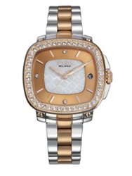 Breil Milano Capital Crystal And Two Tone Stainless Steel Bracelet Watch Rose Gold Silver