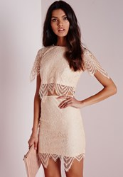 Missguided Scalloped Hem Lace Crop Top Nude