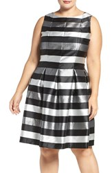 Chetta B Plus Size Women's Metallic Stripe Fit And Flare Dress